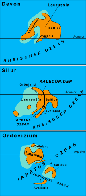 Avalonia - Schematic diagram of the paleogeographic evolution of Avalonia, Baltica and Laurentia. (Names in German.)
