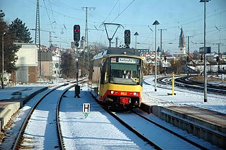 Bretten station - S4 to Karlsruhe at entrance to station