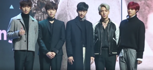 The group in 2016. Members from left to right: Gongchan, Sandeul, Jinyoung, Baro and CNU