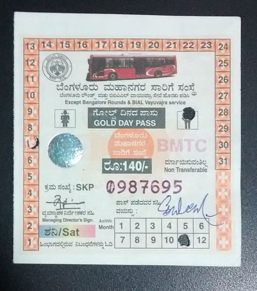 A BMTC Gold Day Pass.