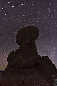 Balanced Rock with Star Trails (8389392967).jpg