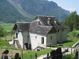 A Ticino style farm house at the Ballenberg Museum, which is partly in Hofstetten bei Brienz