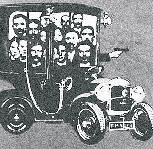 Insurrectionary anarchism - Caricature of the Bonnot gang. The most famous of the French illegalist groups