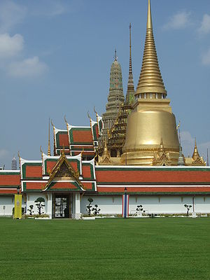 View of part of the Wat Phra Kaew in Bangkok, ...