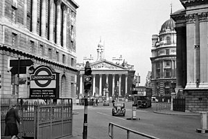 Bank junction - Bank junction pictured on a Sunday in April 1961.
