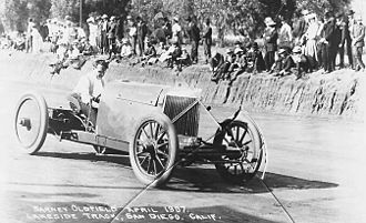 "Barney Oldfield - Oldfield driving the ""Green Dragon"" at Lakeside Track in San Diego, California, in April 1907"