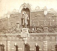 The Vanderbilt statue among its original sculpted relief