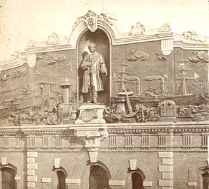 St. John's Park - Bas relief on the HRRR terminal at St. Jones Park, ca. 1868