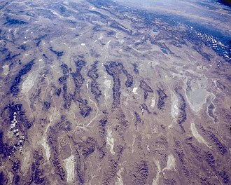 Great Basin Desert - Central Basin and Range from space (central-west Nevada region, view due-south)