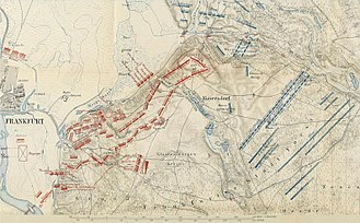 Battle of Kunersdorf - Frederick fought on the ground of his enemy's choice, which was not suited for the tactics he planned to use. Russian troops are shown in dark red; Prussian troops are in blue.  Map by German Grosser Generalstab (General Staff), Wars of Frederick the Great. 1880.