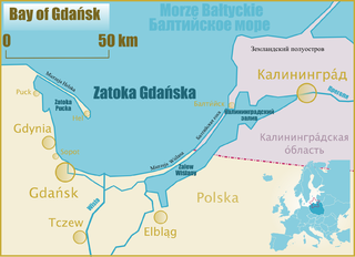 the bay in the Baltic Sea adjoining the port of Gdańsk and stretching to Kaliningrad