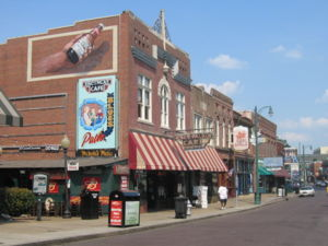Photograph of historic Beale Street buildings ...