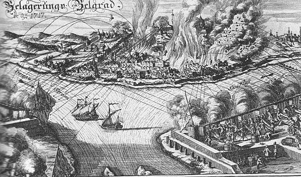 Austrian land and naval bombardment puts Belgrade in flames during the siege of 1717.
