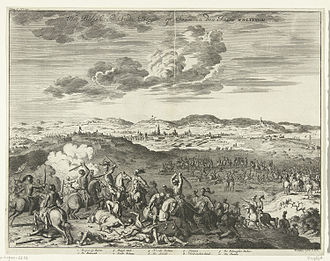 Siege of Bergen op Zoom (1588) - Dutch cavalry attacking Spanish siege lines during the Siege of the Anglo-Dutch town of Bergen-op-Zoom by the Duke of Parma 1588 - by Jan Luyken