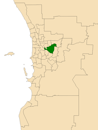 Electoral district of Belmont - Location of Belmont (dark green) in the Perth metropolitan area