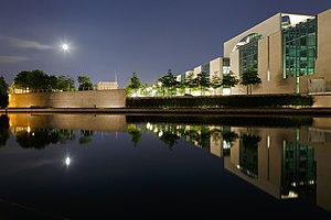 German Chancellery - Nightly view on the Bundeskanzleramt