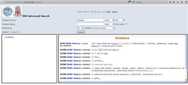 «bhā́skara», artículo en el Sanskrit-English Dictionary (1899) del sanscritólogo británico Monier Monier-Williams (1819-1899).