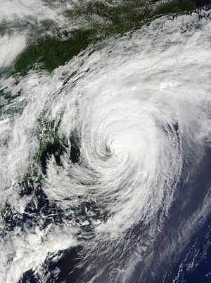 Hurricane Bill (2009) - Hurricane Bill brushing the southern coast of Nova Scotia on August 23
