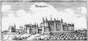 Birkenfeld - Schloss Birkenfeld, now a castle ruin (Matthäus Merian 17th century)