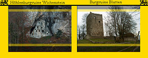 Oberriet - Card showing the ruins of Castles Wichenstein and Blatten