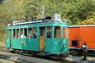Trams in Basel - Ex-Basel heritage tram Ce 2/2 182 on the Blonay–Chamby Museum Railway.