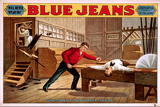 Blue Jeans (play) - 1899 poster depicting the famous saw mill scene from Blue Jeans