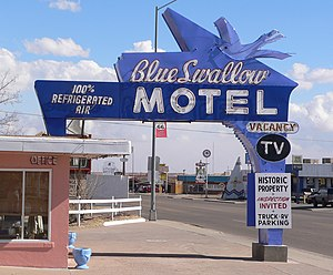National Register of Historic Places listings in Quay County, New Mexico - Image: Blue Swallow Motel sign from W 1