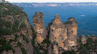 Narrabeen group - The Three Sisters, made up of rocks of the Narrabeen Group, Blue Mountains.