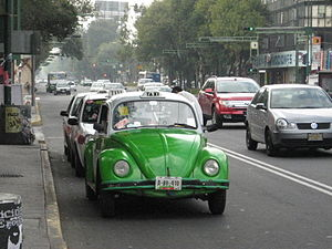 English: VW Beetle taxi in Mexico City. These ...
