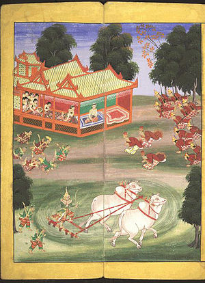 Royal Ploughing Ceremony - The Queen of Burma observes a ploughing ceremony with two oxen. From an 18th-century Burmese watercolour