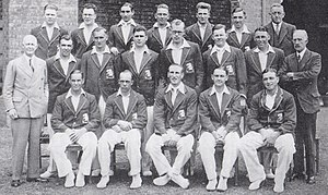 Bill Bowes - Photograph of the England cricket team which toured Australia in 1932–33, taken just before the third Test. Bowes (wearing spectacles) is fifth from left in the middle row. His close friend Hedley Verity is third left in the middle row and their Yorkshire colleagues Herbert Sutcliffe and Maurice Leyland are first left on the front row and middle of the back row respectively.