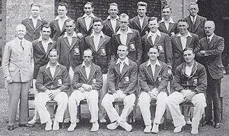 Wally Hammond - A team photograph of England's 1932–33 side: Hammond is seated at the extreme right of the front row.