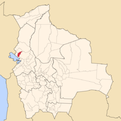 Location of Muñecas Province within Bolivia
