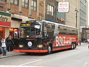 Greyhound Prevost X3-45 #0807 in BoltBus scheme near New York Penn Station.