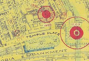 Milford Lane - Bomb damage map showing the site where the VI flying bomb hit Electra House in 1944 (top, marked 1896) and the site of earlier damage from a parachute mine in Temple Gardens in 1940 (right)