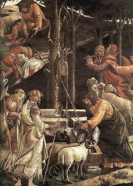 Archivo: Botticelli, Escenas de la vida de Moisés detalle 1.jpg