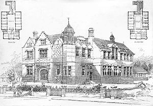 Bournemouth School - The architect's illustration of Bournemouth School's former (and original) buildings in Porchester Road.