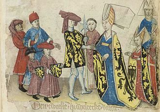 John I, Duke of Brabant - Marriage of John and Margaret of Flanders from the Chronicle Brabantse Yeesten by Jan Van Boendaele.