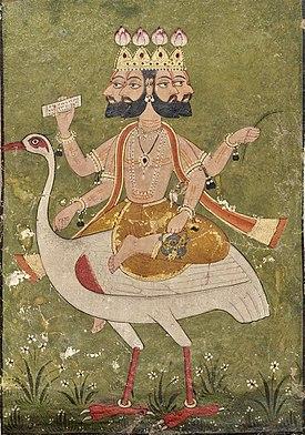 Brahma 4 đầu, 4 tay đang cưỡi chim Hamsa