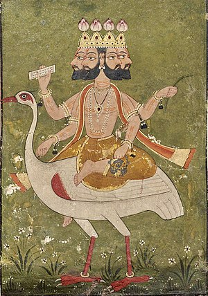 Brahma - Brahma, Pahari art, about 1700 A.D, India.