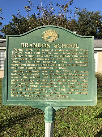 Brandon, Florida - Brandon High School historical marker