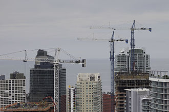 Manhattanization - High rise construction in a small portion of the Brickell district of Miami in 2015. Taken from one of the under construction Brickell City Center towers.