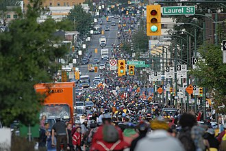 Broadway (Vancouver) - Broadway filled with bicycles during a Critical Mass in 2007
