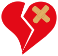 Broken Love Heart bandaged 2 nevit.svg