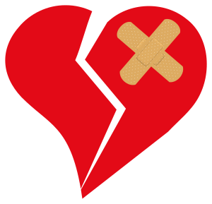 English: Broken Love Heart bandage