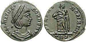 Pietas - Flavia Maximiana Theodora on the obverse, on the reverse Pietas holding infant to her breast.
