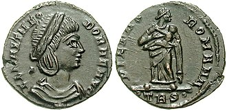 Constantius Chlorus - This coin shows Flavia Maximiana Theodora, Constantius' second wife, with the goddess Pietas on the reverse.