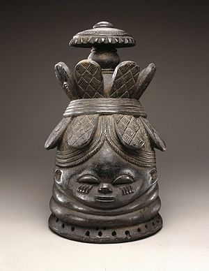 "Gola people - Sowei mask. In Gola and Kpelle it is known as ""Zoegbe"".    Zoe-Gbay"