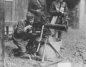 M1917 Browning machine gun - US Army 2nd Lieutenant Valmore A. Browning firing a Browning machine gun. This gun was used in the Argonne Sector and is being tested by 2nd Lt. Browning at Thillombois, Meuse, France, October 5, 1918.