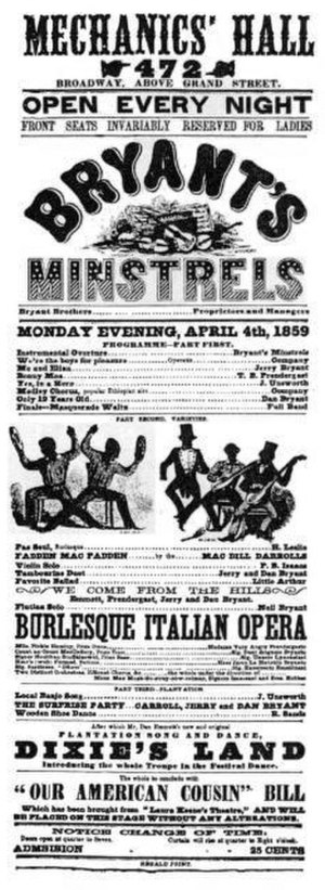 "Dixie (song) - Detail from a playbill for Bryant's Minstrels at April 4, 1859 premiere of ""Dixie"", Mechanics' Hall, New York City"